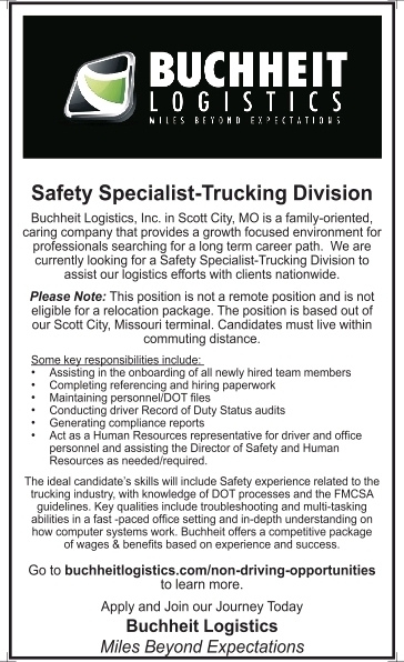 Safety Specialist-Trucking Division