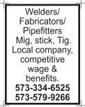 Welders/ Fabricators/ Pipefitters
