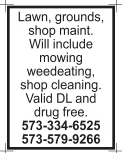 Lawn, Grounds, Shop Maintenance